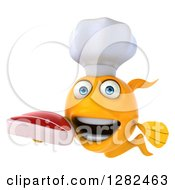 3d Yellow Chef Fish Holding A Beef Steak