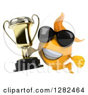 3d Yellow Fish Wearing Sunglasses And Holding A Trophy