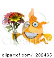 3d Happy Yellow Fish Holding A Bouquet Of Colorful Flowers