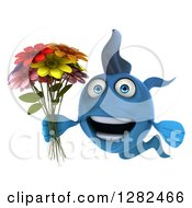 3d Happy Blue Fish Holding A Bouquet Of Colorful Flowers