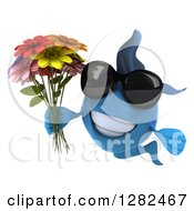 Clipart Of A 3d Blue Fish Wearing Sunglasses And Holding A Bouquet Of Colorful Flowers Royalty Free Illustration