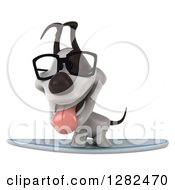 Clipart Of A 3d Bespectacled Jack Russell Terrier Dog Panting On A Surfboard Royalty Free Vector Illustration