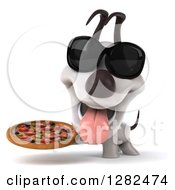 Clipart Of A 3d Happy Jack Russell Terrier Dog Wearing Sunglasses Panting And Holding A Pizza Royalty Free Vector Illustration