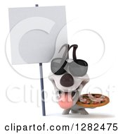Clipart Of A 3d Happy Jack Russell Terrier Dog Wearing Sunglasses Panting And Holding A Pizza By A Blank Sign Royalty Free Vector Illustration