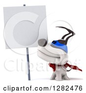 Clipart Of A 3d Jack Russell Terrier Dog Super Hero Smiling Up At A Blank Sign Royalty Free Vector Illustration