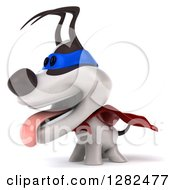 Clipart Of A 3d Jack Russell Terrier Dog Super Hero Panting And Facing Left Royalty Free Vector Illustration