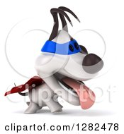 Clipart Of A 3d Jack Russell Terrier Dog Super Hero Panting And Walking To The Right Royalty Free Vector Illustration