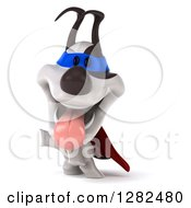 Clipart Of A 3d Jack Russell Terrier Dog Super Hero Panting Standing On His Hind Legs And Pointing To The Left Royalty Free Vector Illustration