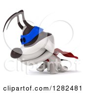 Clipart Of A 3d Jack Russell Terrier Dog Super Hero Walking To The Left Royalty Free Vector Illustration