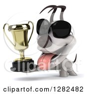 Clipart Of A 3d Happy Jack Russell Terrier Dog Wearing Sunglasses Panting And Holding A Trophy Royalty Free Vector Illustration