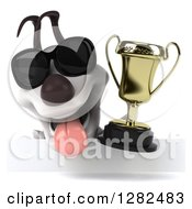 Clipart Of A 3d Happy Jack Russell Terrier Dog Wearing Sunglasses Panting And Holding A Trophy Over A Sign Royalty Free Vector Illustration