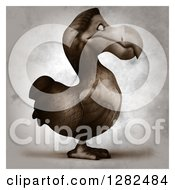 Clipart Of A 3d Dodo Bird Facing Right In Distressed Sepia Royalty Free Vector Illustration