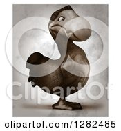 Clipart Of A 3d Dodo Bird Facing Right In Distressed Sepia 2 Royalty Free Vector Illustration