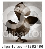 Clipart Of A 3d Dodo Bird Pointing To The Right In Distressed Sepia Royalty Free Vector Illustration