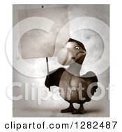 Clipart Of A 3d Dodo Bird Holding A Blank Sign In Distressed Sepia Royalty Free Vector Illustration