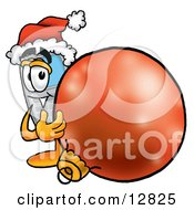 Wireless Cellular Telephone Mascot Cartoon Character Wearing A Santa Hat Standing With A Christmas Bauble