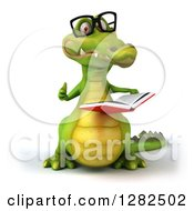 Clipart Of A 3d Bespectacled Crocodile Reading A Book And Holding A Thumb Up Royalty Free Vector Illustration