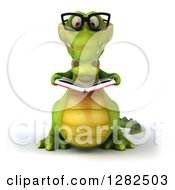 Clipart Of A 3d Bespectacled Crocodile Reading A Book Royalty Free Vector Illustration