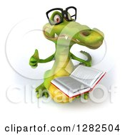 Clipart Of A 3d Bespectacled Crocodile Reading A Book And Holding Up A Thumb Royalty Free Vector Illustration