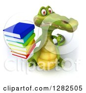 Clipart Of A 3d Crocodile Holding Up A Stack Of Books And A Thumb Down Royalty Free Vector Illustration