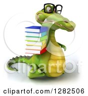 Clipart Of A 3d Bespectacled Crocodile Walking To The Right And Holding A Stack Of Books Royalty Free Vector Illustration