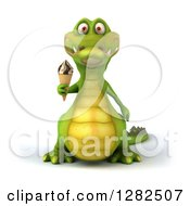Clipart Of A 3d Crocodile Holding An Ice Cream Cone Royalty Free Vector Illustration