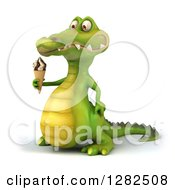 Clipart Of A 3d Crocodile Facing Left And Holding An Ice Cream Cone Royalty Free Vector Illustration