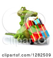 Clipart Of A 3d Crocodile Pushing Gifts On A Dolly Royalty Free Vector Illustration