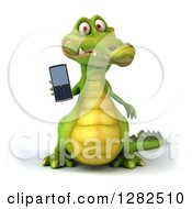 3d Crocodile Holding Out A Cell Phone
