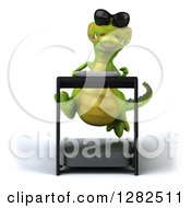 Clipart Of A 3d Crocodile Wearing Sunlgasses And Running On A Treadmill Royalty Free Vector Illustration