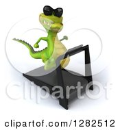 Clipart Of A 3d Crocodile Wearing Sunlgasses Wearing Right And Running On A Treadmill Royalty Free Vector Illustration