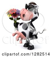 Clipart Of A 3d Cow Wearing Sunglasses Facing Left And Holding A Bouquet Of Flowers Royalty Free Vector Illustration