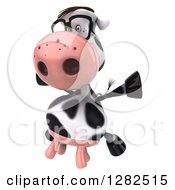 Clipart Of A 3d Bespectacled Cow Facing Slightly Left And Jumping Royalty Free Vector Illustration