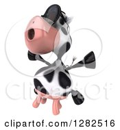 Clipart Of A 3d Cow Wearing Sunglasses Facing Slightly Left And Jumping Royalty Free Vector Illustration