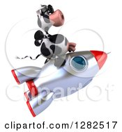 Clipart Of A 3d Cow Wearing Sunglasses And Riding A Rocket To The Right Royalty Free Vector Illustration