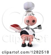 Clipart Of A 3d Chef Cow Holding A Beef Steak And Presenting Royalty Free Vector Illustration