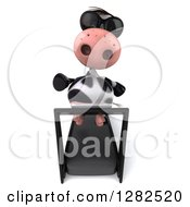 Clipart Of A 3d Cow Wearing Sunglasses And Running On A Treadmill Royalty Free Vector Illustration
