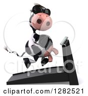 Clipart Of A 3d Cow Wearing Sunglasses And Running On A Treadmill Facing Right Royalty Free Vector Illustration