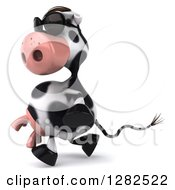 Clipart Of A 3d Cow Wearing Sunglasses And Walking To The Left Royalty Free Vector Illustration