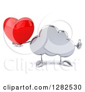 Clipart Of A 3d Silver Cloud Character Holding A Thumb Up And A Love Heart Royalty Free Vector Illustration
