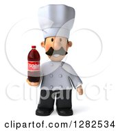 Clipart Of A 3d Short Male Chef With A Mustache Holding A Soda Bottle Royalty Free Vector Illustration