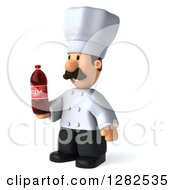 Clipart Of A 3d Short Male Chef With A Mustache Facing Left And Holding A Soda Bottle Royalty Free Vector Illustration