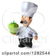 Clipart Of A 3d Short Male Chef With A Mustache Walking To The Left And Holding A Green Bell Pepper Royalty Free Vector Illustration