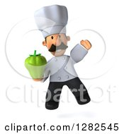 Clipart Of A 3d Short Male Chef With A Mustache Jumping And Holding A Green Bell Pepper Royalty Free Vector Illustration