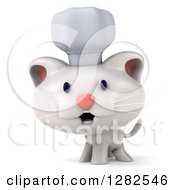 Clipart Of A 3d White Kitten Cat Chef Royalty Free Vector Illustration