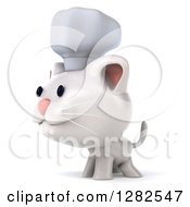 Clipart Of A 3d White Kitten Cat Chef Facing To The Left Royalty Free Vector Illustration