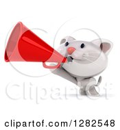 Clipart Of A 3d White Kitten Cat Announcing With A Megaphone Royalty Free Vector Illustration