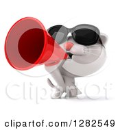 Clipart Of A 3d White Kitten Cat Wearing Sunglasses And Announcing With A Megaphone Royalty Free Vector Illustration