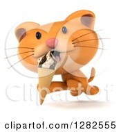 Clipart Of A 3d Ginger Cat Running And Licking An Ice Cream Cone Royalty Free Vector Illustration by Julos