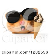 Clipart Of A 3d Ginger Cat Wearing Sunglasses And Holding An Ice Cream Cone Over A Sign Royalty Free Vector Illustration by Julos